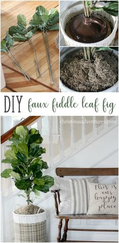 Easiest tutorial for a DIY faux fiddle leaf fig tree - the perfect accent for your farmhouse home decor