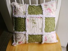 Shabby Chic 16X16 pillow cover rag quilt sham by COCountryQuilts24, $28.00