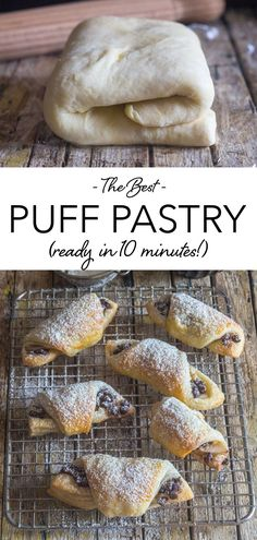 10 Minute Homemade Puff pastry, fast and easy, flaky and buttery, better than store bought. The perfect dessert, just add the filling. This homemade puff pastry recipe is perfect for holidays pies and tarts, chicken pot pie or steak pie, and also special occasions! #puffpastry #appetizer Puff Pastry Appetizers, Savory Pastry, Puff Pastry Recipes, Appetizer Recipes, Dessert Recipes, Puff Pastries, Savory Tart, Best Pastry Recipe, Puff Pastry Chicken
