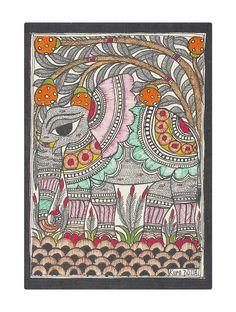 Folk Art Painting Techniques Beautiful 20 Ideas For 2019 Saree Painting, Kalamkari Painting, Madhubani Painting, Watercolor Paintings Abstract, Painting Art, Painting Tips, Dark Art Drawings, Madhubani Art, Indian Folk Art