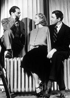 "Frank Capra, Jean Arthur and Jimmy Stewart on the set of ""Mr. Smith Goes to Washington"""