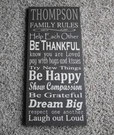 Family Rules Name Sign Subway Typography 12x24 by MississippiSigns, $65.00