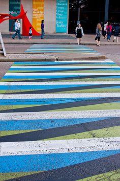 Colourful crosswalks outside the Museum of Fine Art in Houston