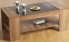 Coffee table walnut #veneer black #gloss #occasional living room furniture,  View more on the LINK: http://www.zeppy.io/product/gb/2/181772585425/