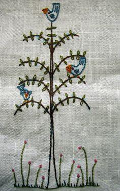Three birds in a tree.