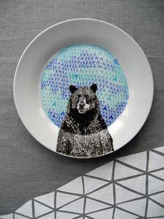 Bear Geometric Design Plate hand illustrated by PerDozenDesign