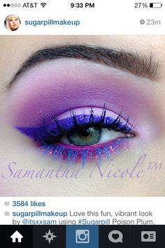 Love the sparkles on the eyelid and the blue mascara on the bottom and the black on the top!