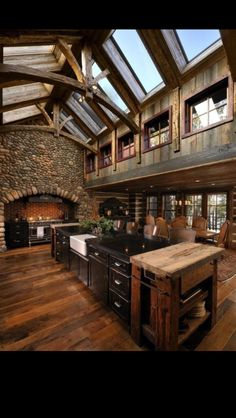 Rustic, castle style kitchen! So cool!
