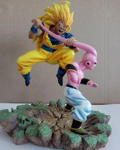 367.50$  Buy here - http://alia2o.worldwells.pw/go.php?t=32668150291 - MODEL FANS Dragon Ball Z 32cm super saiyan 3 goku vs evil small Majin Buu gk resin action figure toy for Collection