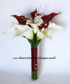 sharon nagassar designs silk, latex, real touch, custom wedding flowers - Red Burgundy Calla lilies and white off-white cymbidium orchids
