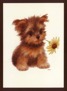 Charming Terrier Puppy Dog with Sunflower Morehead Blank Note Greeting Card | eBay