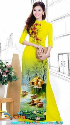Vietnamese Traditional Dress, Vietnamese Dress, Traditional Dresses, Hand Painted Dress, Painted Clothes, Dress Painting, Fabric Painting, Kutch Work Designs, Fabric Paint Designs