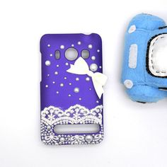 Handmade Hard Case for HTC EVO 4G: Bling Lace Pearl Bow (customized are welcome)