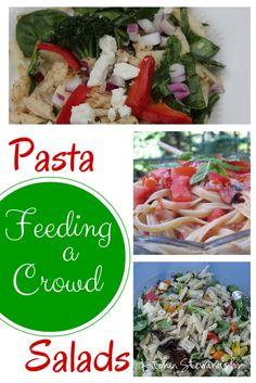 Four different kinds of big batch pasta salads - perfect for summer picnics, camping or barbecues.  Greek pasta salad, pizza pasta salad, Spicy Red Pepper, and more!