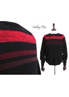 Men's pullover, men knit sweater, men knit pullover, men stripe knit, stripe sweater, stripe pullover, black sweater, black knit by KnittingbyDB on Etsy