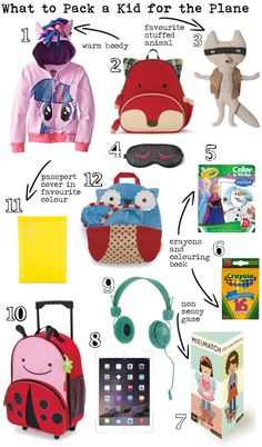 A list of items to bring on the plane for your younger child. Travel light and packing light in a backpack. #carryon #travellight #packinglight livelovesara.com