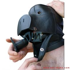 Top Quality BDSM Leather Pig Face Bondage Hood For those of you into piggy play...finally a leather hood that actually looks like a real pig face. The pig face hood includes a hard leather snout front with nostril slits, pointy ears and eyeholes. It laces up the back and has a lockable buckle at the collar.With its snap-on dildo gag, and our tight but comfortable fit, it is a hood that leaves a lasting impression.
