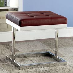 Furniture of America Phillomena Ottoman with Chrome Base | from hayneedle.com