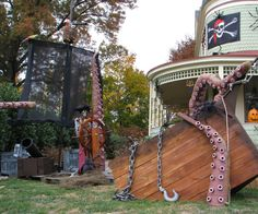 Halloween is awesome. Last year we had over 1300 trick or treaters from 3pm-9pm (town curfew). Last years theme: PIRATES!! ARRR!!!!!! So of course we needed a pirate ship and sea monster. Enjoy and please remember to vote if you like our project. Thanks