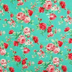 Floral Print Javanaise Viscose Fabric Green Pink 148cm