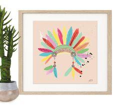 Poster Print Art Native American Indian Headdress Print Illustration A4 or A3