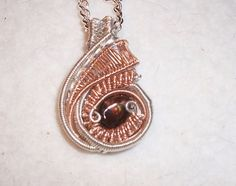 Mexican Fire Agate .925 Sterling Silver 14kt Rose Gold Wire Wrap Pendant Heady #Pendant