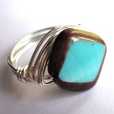 Boho Wire Wrapped Ring Silver Turquoise Blue