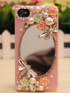 Sparkly mirror flowers hard back mobile phone case cover rhinestone case cover for iphone 4 5 6 6 plus samsung galaxy 3 4 Girly Phone Cases, Diy Phone Case, Mobile Phone Cases, Cell Phone Covers, Iphone 6 Plus Case, Iphone 5s, Iphone Hard Case, Iphone 5c Cases, Whatsapp Pink