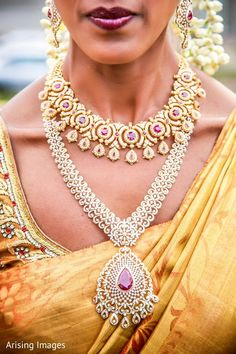 This Indian bride gets all dolled up for her wedding with lovely jewelry.