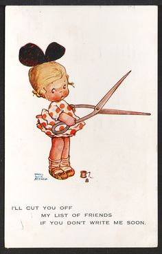 Signed Attwell 1923 Postcard Girl with Large Sewing Scissors
