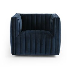 A modern take on classic library chair, luxurious poly-blend navy seating takes on dramatic channeling for trend-forward texture and sumptuous sit. Swivel feature amps up fresh appeal from every angle. Luxury Furniture Stores, Furniture Sale, Bedroom Furniture, Tufted Chair, Chair Cushions, Chair Pads, Armchair, Classic Library, Library Chair