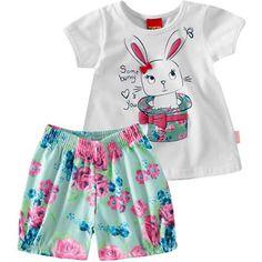 Conjunto Infantil de Verão Feminino Floral Bunny Branco - Kyly :: 764 Kids | Roupa bebê e infantil