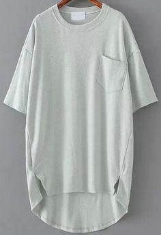 Grey Pocket Split Dip Hem T-Shirt