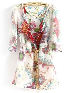 White Half Sleeve Floral Chain Chiffon Outerwear pictures