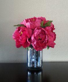Artificial Flower Arrangement, Faux Flowers, Peonies, Mason Jar, Floral Arrangement, Centerpiece, Silver, Fuschia, Mercury Glass, Peony,Jar - pinned by pin4etsy.com