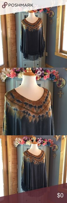 Beautiful Shawl with Fringes. Brand NEW w/Tags Brand new with tags.  Beautiful pull over shawl with embroidered detail, crotched edges and stylish fringes. Dark denim color. Absolutely gorgeous. Women's Plus size 2XL. Machine washable 100% rayon. Brand new with tags attached. Very well made and the perfect staple for any closet. This goes with any outfit. Use the bundle option for an amazing discount on this. All items come from a smoke & pet free home. indigo Thread co Jackets & Coats