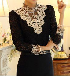 Rhinestones Embellished Stand-Up Collar Long Sleeve Women's Lace T-Shirt
