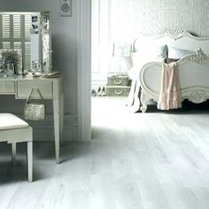 White laminate flooring from Lowes - white flooring is staple for shabby chic… Tile Bedroom, Small Room Bedroom, Bedroom Flooring, White Laminate Flooring, White Wood Floors, Tile Flooring, Vinyl Flooring, Grey Wood, Floor Colors