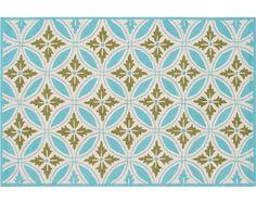 Florin Blue, Green, Crm Pp Acrylic Hook Rug