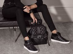 Quilted leather takes athleisure to a new level of chic. #StyleTip