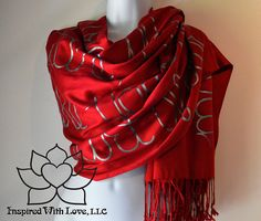 Custom Pashmina Script Scarf Pashmina/Silk by InspiredWithLoveLLC