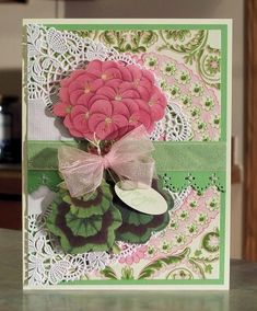 Large Geranium Paper Tole All Occasion Card by Sylvaqueen - Cards and Paper Crafts at Splitcoaststampers