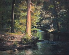 """Looking Upstream, Devil's Hopyard"", CT.16"" x 20"" oil on linen. I love this area of CT. When I first saw this tree and the stream, it blew me away. I just love small streams in the woods. As a kid I played around them a lot."