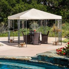 UNDER TREES: AS A BASE TO EXTEND FROM AND THEN ENCLOSE WITH SCREEN OR CHEAP CHIFFON -  Ferrara 10 Ft. W x 10 Ft. D Steel Gazebo