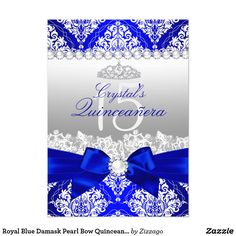 Royal Blue Damask Pearl Bow Quinceanera Invite Royal Blue Quinceañera Invitation. Elegant blue and white damask design with pearl silk bow. Customize with your own details.