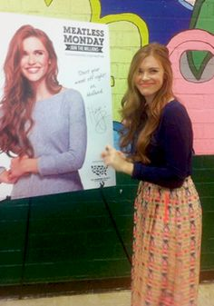 Holland Roden in a school for 'Meatless Monday'