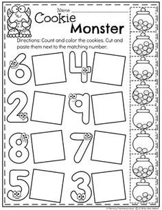 Preschool Math Worksheets – Monster Theme - Kids education and learning acts Pre K Worksheets, Kindergarten Math Worksheets, Homeschool Kindergarten, Preschool Learning Activities, Preschool Printables, Preschool Lessons, Preschool Activities, Kids Learning, Montessori Preschool