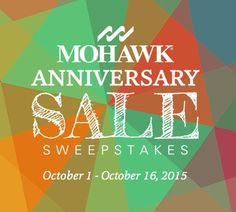 I just entered the #MohawkAnniversary Sale Sweepstakes for a chance to win one of three amazing cash prizes! Click on this link to enter and get a coupon; contest ends 10/16! http://ow.ly/SLTDg