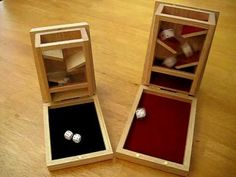 Box dice tower whats on the inside so you can make one! Box dice tower whats on the inside so you can make one! Dnd Table, Wood Crafts, Diy And Crafts, Board Game Table, Dice Tower, Dice Box, Wood Games, Diy Games, Tabletop Games