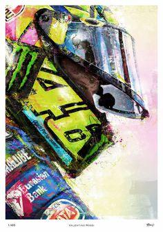 Portrait of Moto GP legend Valentino Rossi. Valentino Rossi Logo, Motogp Valentino Rossi, Motorcycle Art, Bike Art, Vale Rossi, Moto Wallpapers, Gp Moto, Cute Baby Wallpaper, Vr46